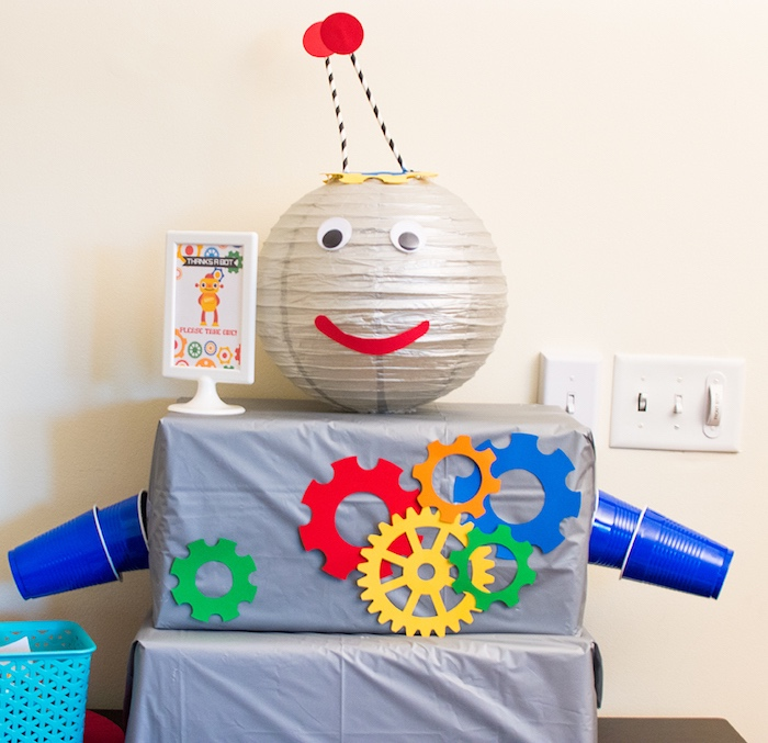 Robot decoration from a Colorful Robot Birthday Party on Kara's Party Ideas | KarasPartyIdeas.com