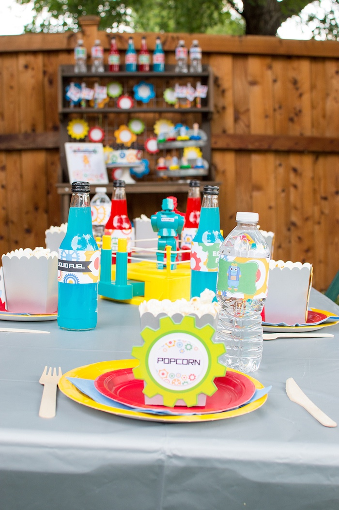 Robot guest table from a Colorful Robot Birthday Party on Kara's Party Ideas | KarasPartyIdeas.com
