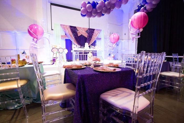 "Guest table from a ""Princess of the Sea"" Birthday Party on Kara's Party Ideas 