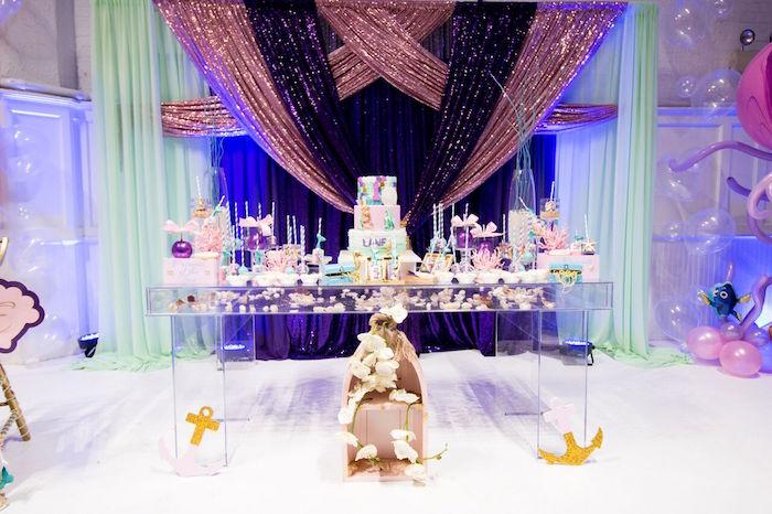 "Dessert table from a ""Princess of the Sea"" Birthday Party on Kara's Party Ideas | KarasPartyIdeas.com (11)"