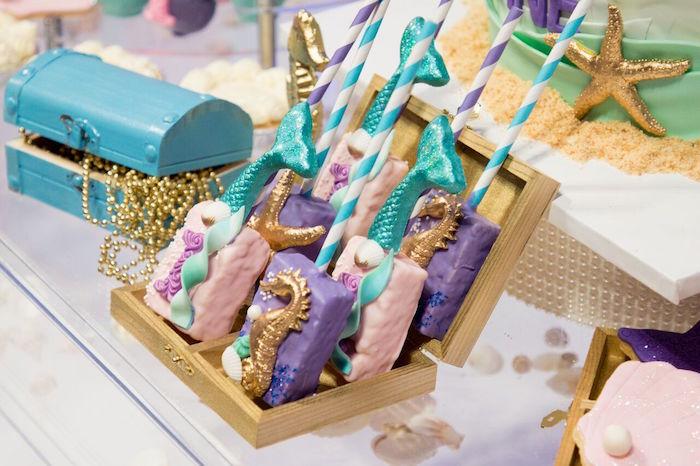 "Rice Krispie Treats from a ""Princess of the Sea"" Birthday Party on Kara's Party Ideas | KarasPartyIdeas.com (8)"