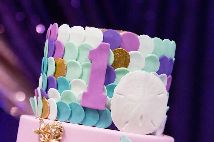 "Mermaid scale cake from a ""Princess of the Sea"" Birthday Party on Kara's Party Ideas | KarasPartyIdeas.com (6)"