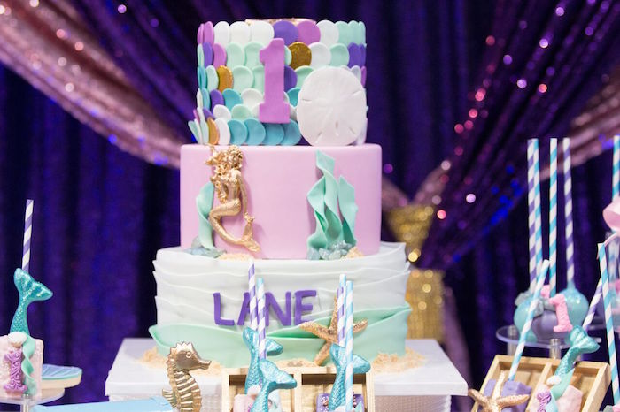 "Under the Sea Cake from a ""Princess of the Sea"" Birthday Party on Kara's Party Ideas 