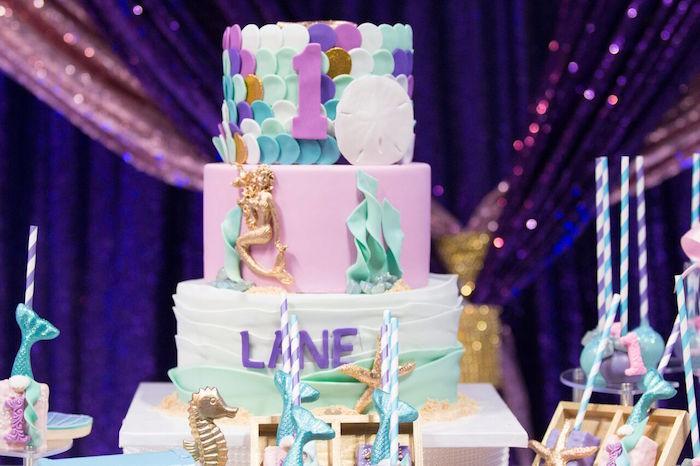 "Under the Sea Cake from a ""Princess of the Sea"" Birthday Party on Kara's Party Ideas | KarasPartyIdeas.com (5)"