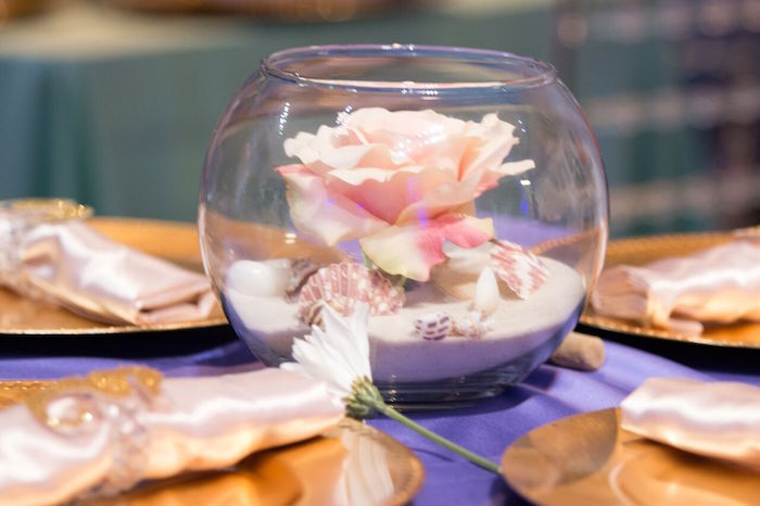"Sand bowl centerpiece from a ""Princess of the Sea"" Birthday Party on Kara's Party Ideas 