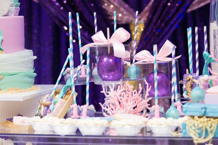 "Candied apples from a ""Princess of the Sea"" Birthday Party on Kara's Party Ideas 