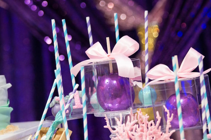 """Candied apples from a """"Princess of the Sea"""" Birthday Party on Kara's Party Ideas 