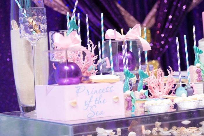 "Sweet table detail from a ""Princess of the Sea"" Birthday Party on Kara's Party Ideas 