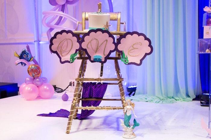 "High chair from a ""Princess of the Sea"" Birthday Party on Kara's Party Ideas | KarasPartyIdeas.com (17)"