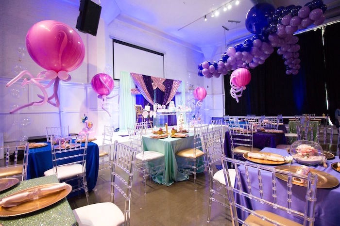 """Partyscape from a """"Princess of the Sea"""" Birthday Party on Kara's Party Ideas 
