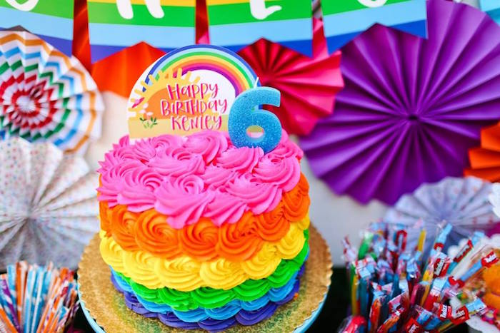 "Rainbow rosette cake from a ""Troll-tastic"" Trolls Birthday Party on Kara's Party Ideas | KarasPartyIdeas.com (35)"