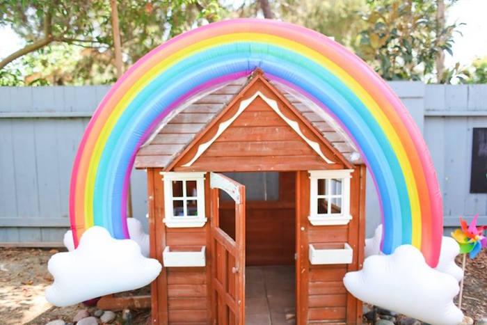 "Rainbow playhouse from a ""Troll-tastic"" Trolls Birthday Party on Kara's Party Ideas | KarasPartyIdeas.com (31)"
