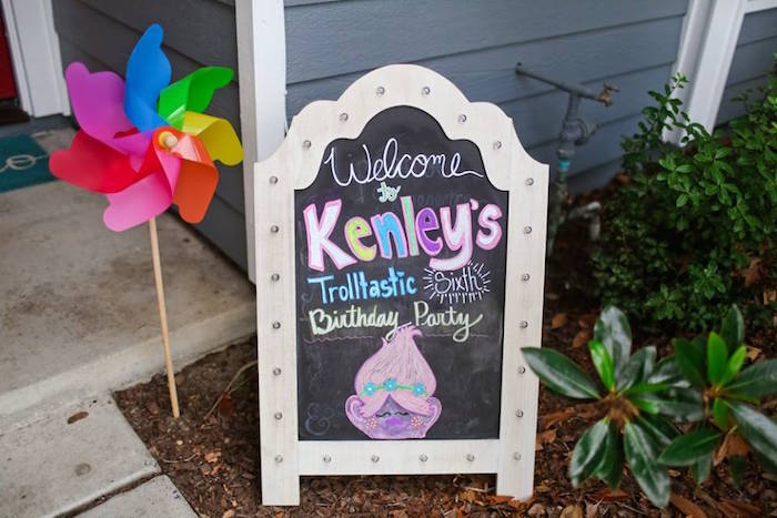 "Chalkboard welcome sign from a ""Troll-tastic"" Trolls Birthday Party on Kara's Party Ideas 