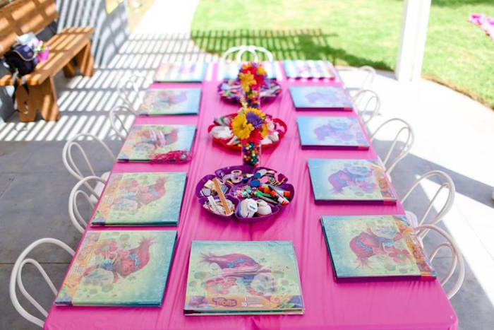 "Scrapbooking table from a ""Troll-tastic"" Trolls Birthday Party on Kara's Party Ideas 