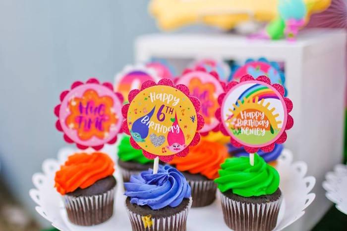"Cupcakes from a ""Troll-tastic"" Trolls Birthday Party on Kara's Party Ideas | KarasPartyIdeas.com (27)"