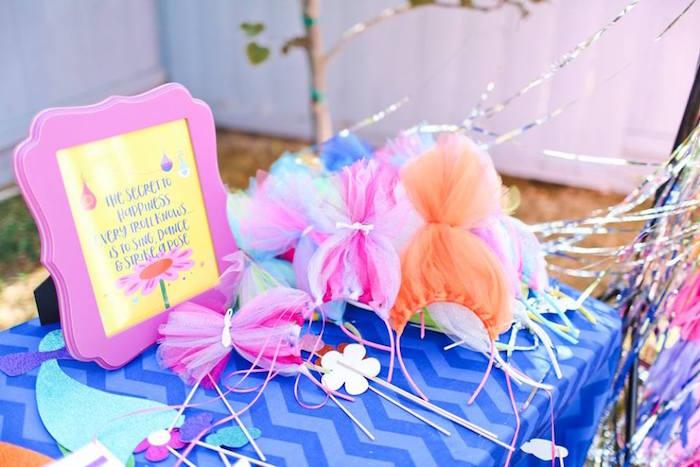 "Troll hair headbands + photo booth props from a ""Troll-tastic"" Trolls Birthday Party on Kara's Party Ideas | KarasPartyIdeas.com (26)"