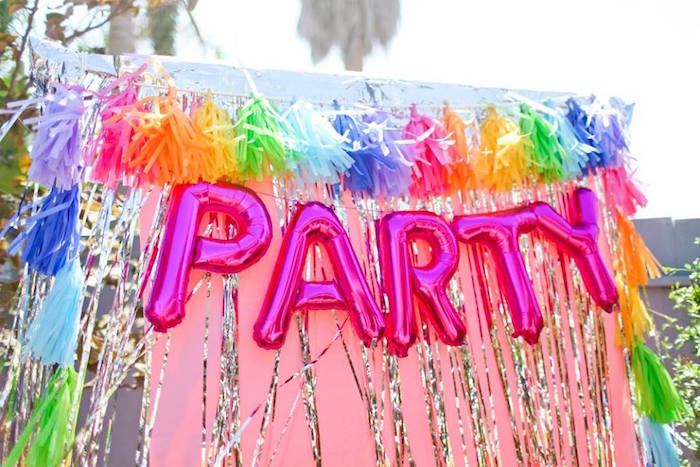 """PARTY"" photo booth from a ""Troll-tastic"" Trolls Birthday Party on Kara's Party Ideas 
