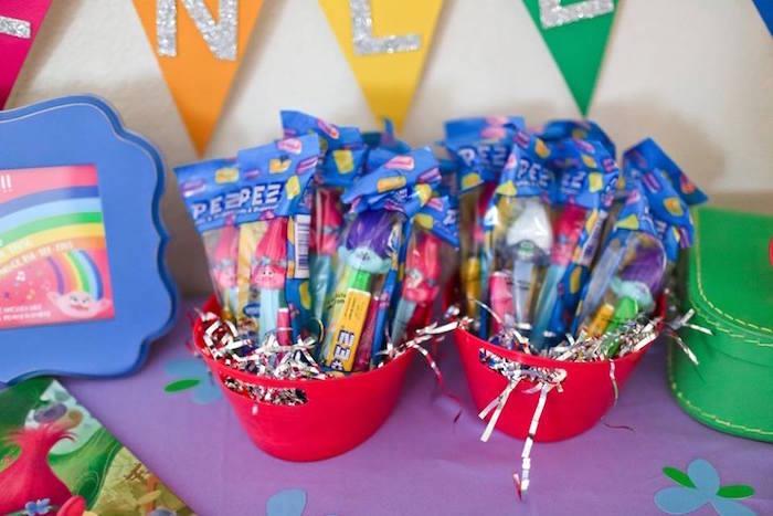 "PEZ troll favors from a ""Troll-tastic"" Trolls Birthday Party on Kara's Party Ideas | KarasPartyIdeas.com (21)"