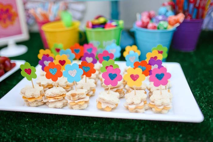 Flower Sandwiches From A Troll Tastic Trolls Birthday Party On Karas Ideas
