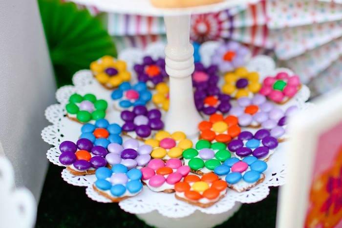 "M&M flower cookies from a ""Troll-tastic"" Trolls Birthday Party on Kara's Party Ideas | KarasPartyIdeas.com (18)"