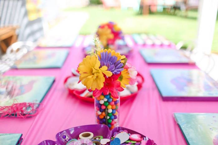 "Gumball and flower centerpiece from a ""Troll-tastic"" Trolls Birthday Party on Kara's Party Ideas 