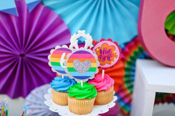 "Cupcakes from a ""Troll-tastic"" Trolls Birthday Party on Kara's Party Ideas | KarasPartyIdeas.com (14)"