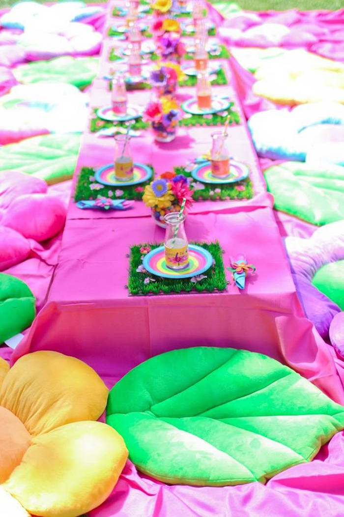 "Guest table from a ""Troll-tastic"" Trolls Birthday Party on Kara's Party Ideas 