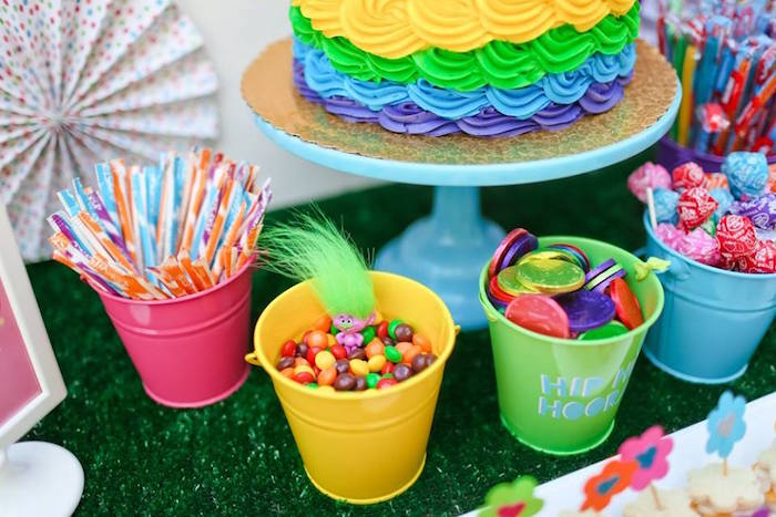 "Colorful candy buckets from a ""Troll-tastic"" Trolls Birthday Party on Kara's Party Ideas 