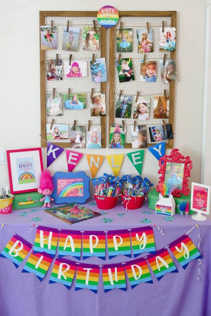 "Welcome table from a ""Troll-tastic"" Trolls Birthday Party on Kara's Party Ideas 
