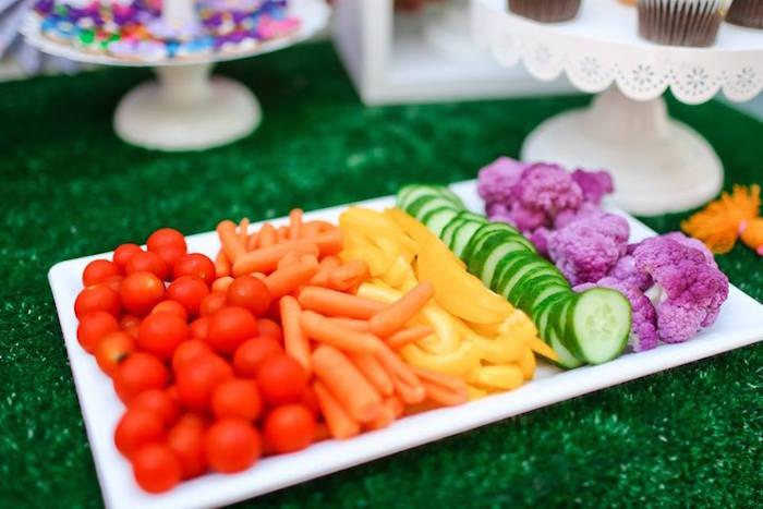 Rainbow Veggie Tray From A Troll Tastic Trolls Birthday Party On Karas
