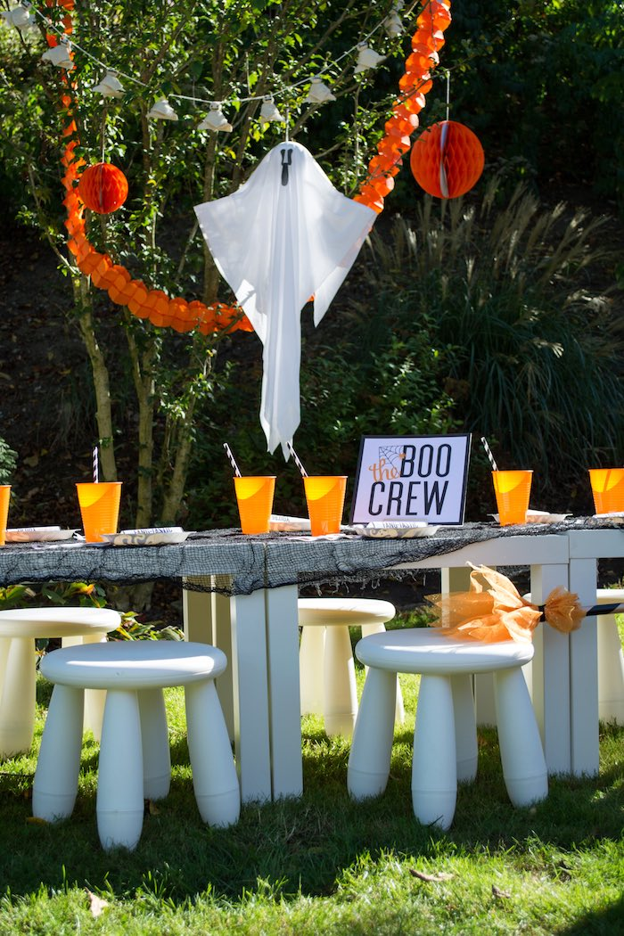 """Boo Crew Party Table from a """"Witches, Boos, & Spiders Too"""" Halloween Party for Kids on Kara's Party Ideas 