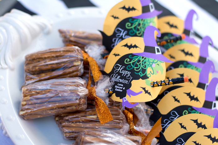 """Flying Witch Favors from a """"Witches, Boos, & Spiders Too"""" Halloween Party for Kids on Kara's Party Ideas 