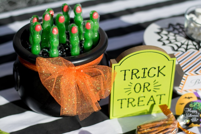 """Witch Finger Favors from a """"Witches, Boos, & Spiders Too"""" Halloween Party for Kids on Kara's Party Ideas 
