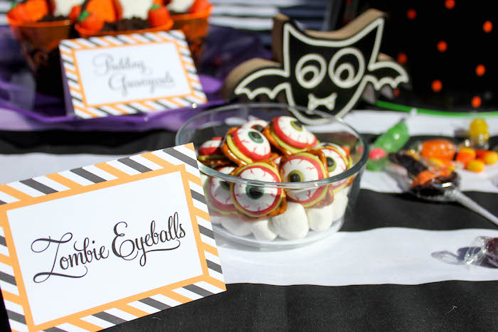 """Zombie Eyeball Macarons from a """"Witches, Boos, & Spiders Too"""" Halloween Party for Kids on Kara's Party Ideas 
