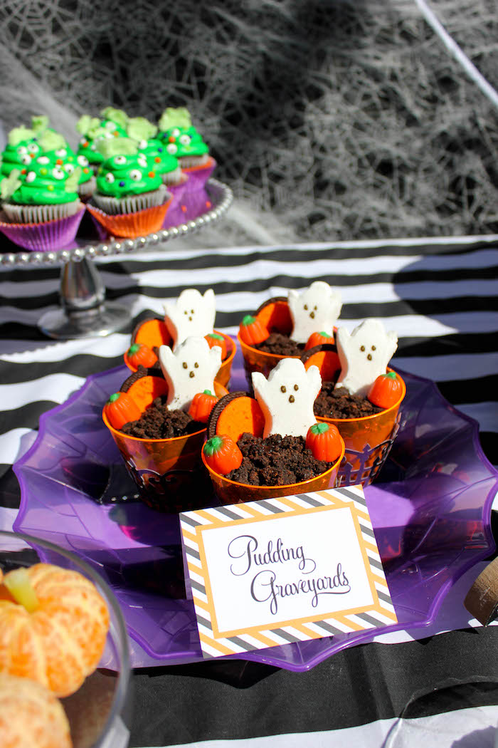 """Pudding Graveyards from a """"Witches, Boos, & Spiders Too"""" Halloween Party for Kids on Kara's Party Ideas 