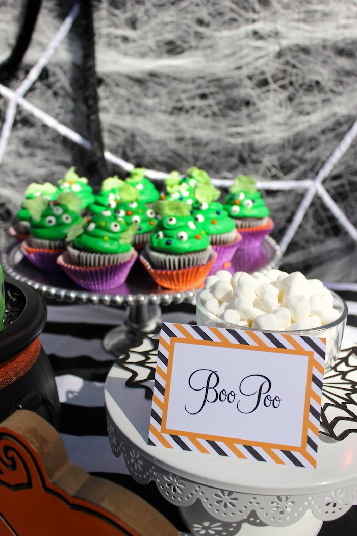 """Boo Poo Marshmallows from a """"Witches, Boos, & Spiders Too"""" Halloween Party for Kids on Kara's Party Ideas 