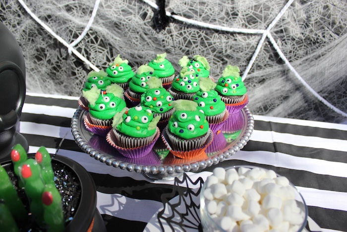 """Ghoul cupcakes from a """"Witches, Boos, & Spiders Too"""" Halloween Party for Kids on Kara's Party Ideas 