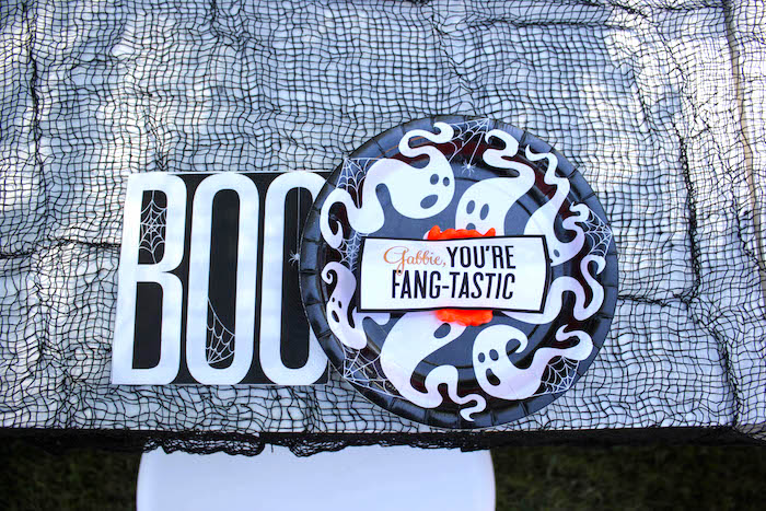 """Ghost place setting from a """"Witches, Boos, & Spiders Too"""" Halloween Party for Kids on Kara's Party Ideas 