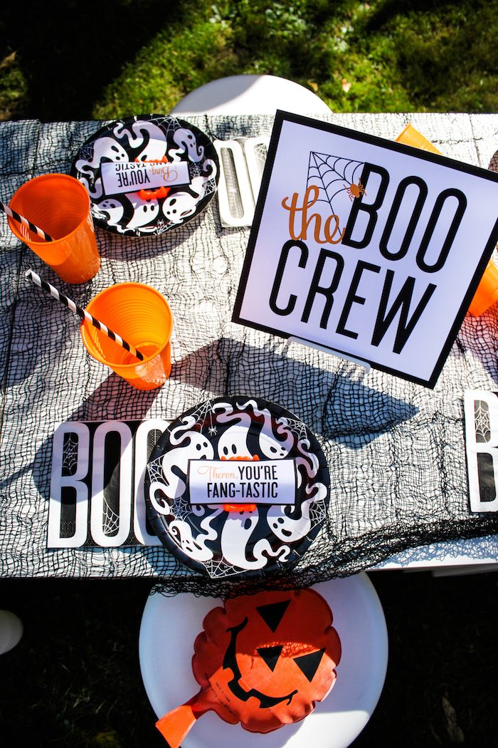 """Guest table from a """"Witches, Boos, & Spiders Too"""" Halloween Party for Kids on Kara's Party Ideas 