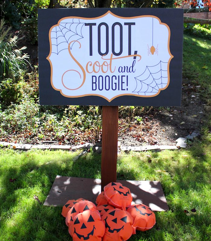 """Toot, Scoot and Boogie from a """"Witches, Boos, & Spiders Too"""" Halloween Party for Kids on Kara's Party Ideas 