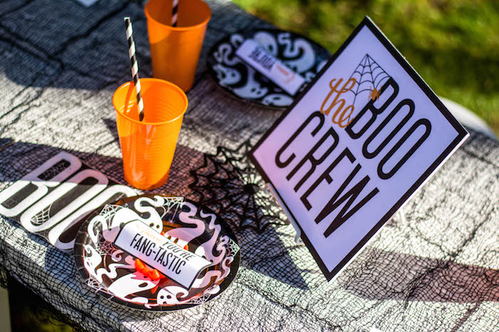 """Place setting from a """"Witches, Boos, & Spiders Too"""" Halloween Party for Kids on Kara's Party Ideas 