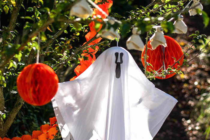"""Hanging ghost from a """"Witches, Boos, & Spiders Too"""" Halloween Party for Kids on Kara's Party Ideas 