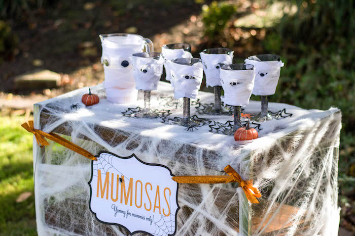 """Mumosas from a """"Witches, Boos, & Spiders Too"""" Halloween Party for Kids on Kara's Party Ideas 