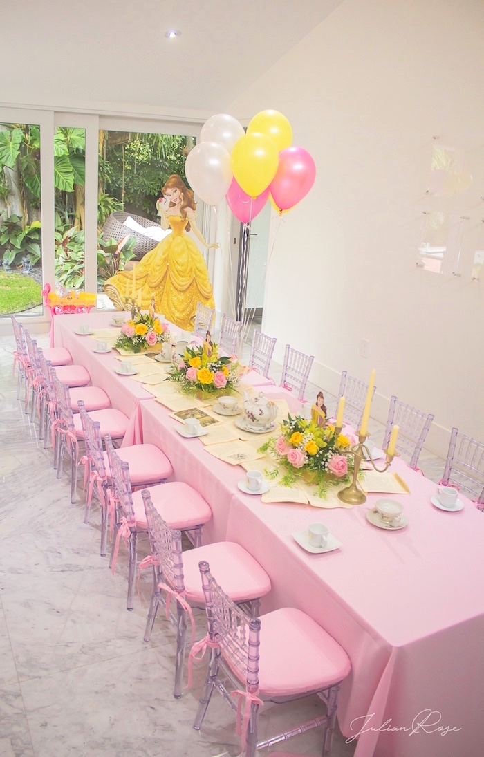 Tea table from a Belle's Tea Party on Kara's Party Ideas | KarasPartyIdeas.com (9)