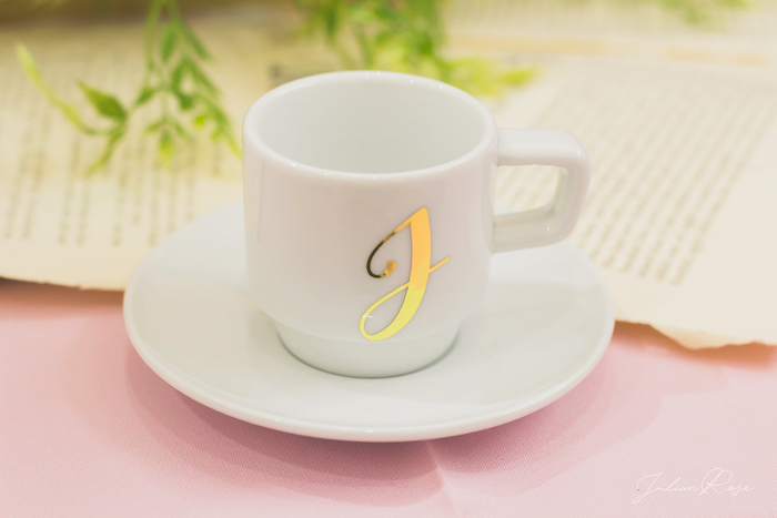 Custom tea cup and saucer from a Belle's Tea Party on Kara's Party Ideas | KarasPartyIdeas.com (5)