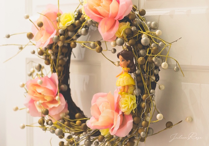 Belle Wreath from a Belle's Tea Party on Kara's Party Ideas | KarasPartyIdeas.com (4)