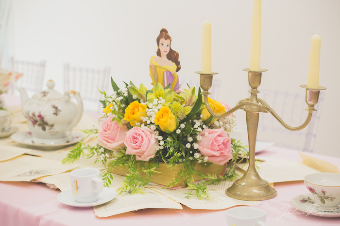 Belle themed floral arrangement from a Belle's Tea Party on Kara's Party Ideas | KarasPartyIdeas.com (17)