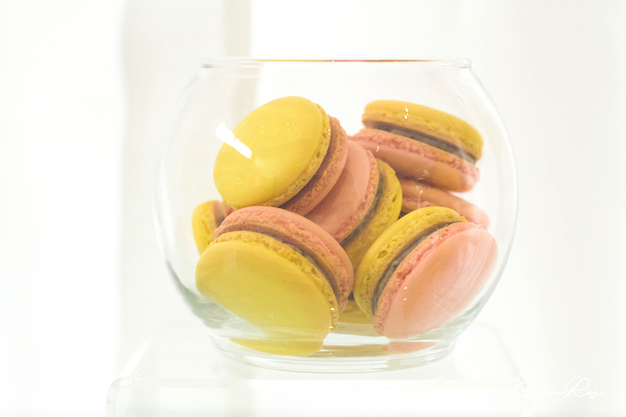 Pink and yellow macarons from a Belle's Tea Party on Kara's Party Ideas | KarasPartyIdeas.com (15)