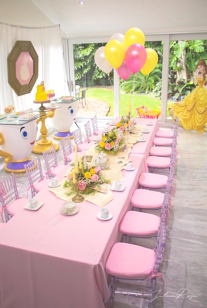 Guest table from a Belle's Tea Party on Kara's Party Ideas | KarasPartyIdeas.com (12)