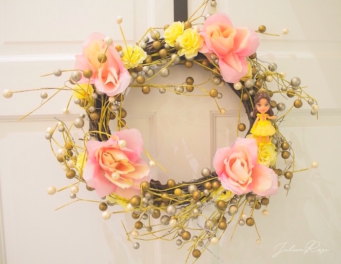 Belle Wreath from a Belle's Tea Party on Kara's Party Ideas | KarasPartyIdeas.com (10)